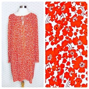 Old Navy Floral Long Sleeve Shift Pleated Dress